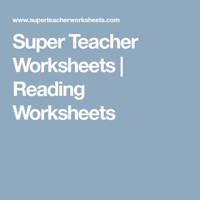 Super Teacher Worksheets Reading Worksheets