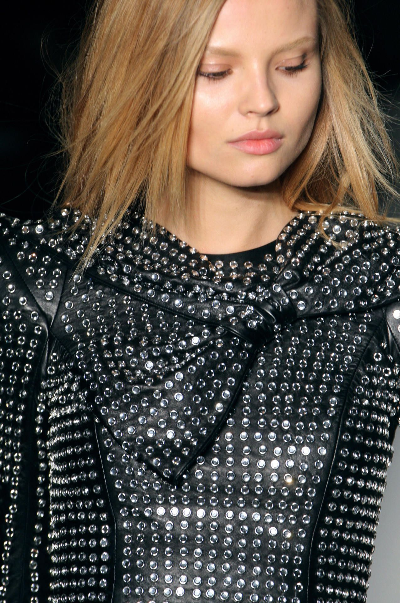 Tell us!!!  Who makes this amazing studded leather jacket w/bow collar!?  xoxo beautylove aprons