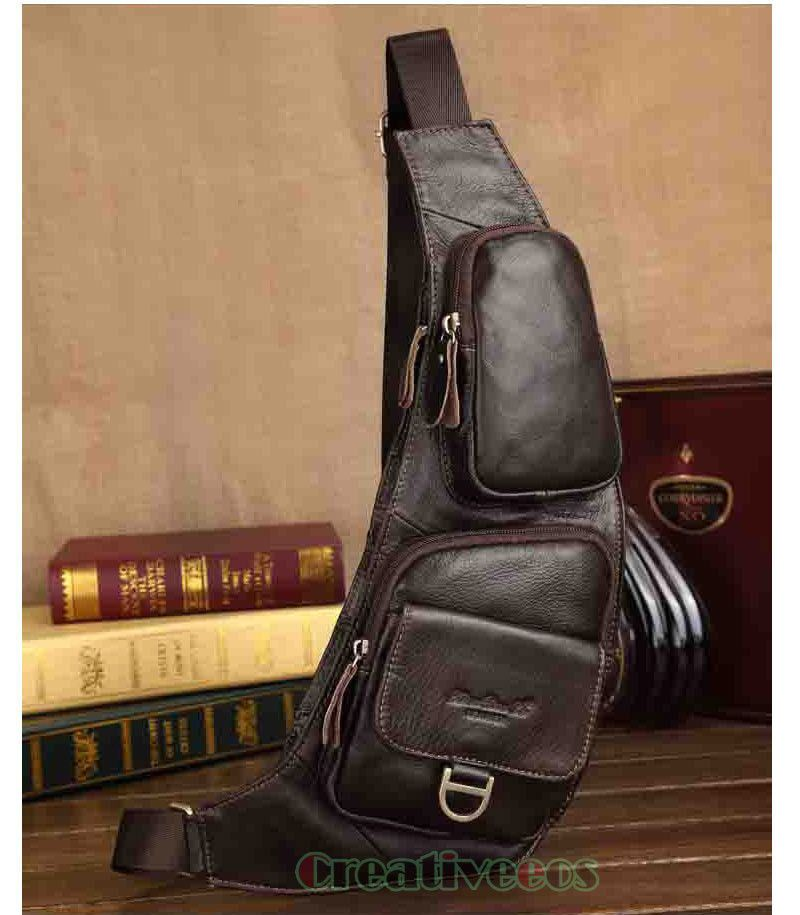 New Men/'s Bag Vintage Genuine Leather Travel Riding Motorcycle Sling Chest Bag