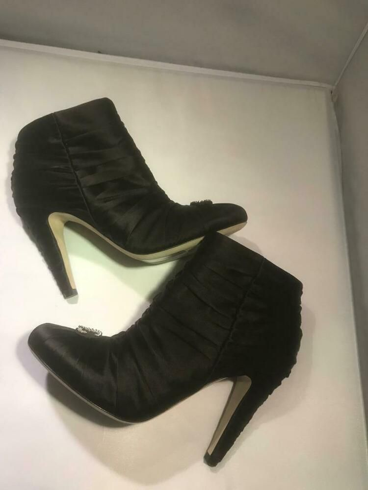 4b838af7a7 eBay #Sponsored CHANEL 17A Ruched Satin Crystal CC Ankle Booties Boots Heels  Shoes Black $1250