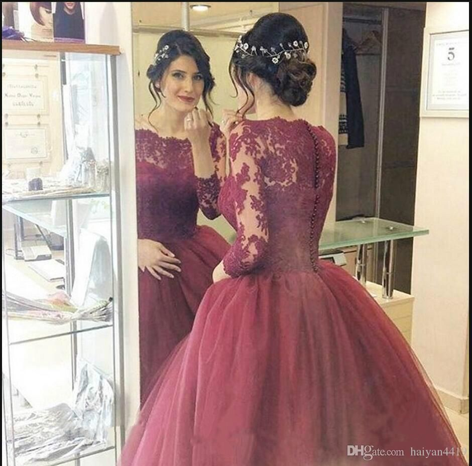 e9dfd377571 2017 New Burgundy Quinceanera Ball Gown Dresses Bateau Neck Long Sleeves  Lace Appliques Organza Sweep Train Sweet 16 Party Prom Evening Gown  Quinceanera ...