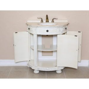 White Demilune Bathroom Vanity