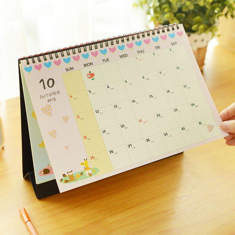 2016 Calendar Cute Cartoon Totoro MINION Desktop Animal Calendar ...