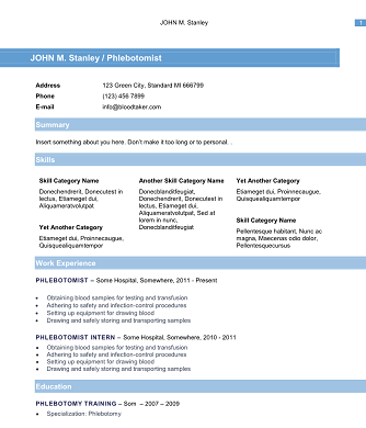 Free Phlebotomy Resume Templates You Must See  Resume