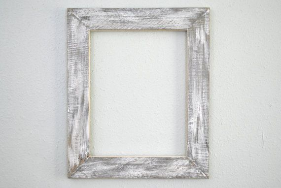 11x14 Distressed White Frame Rustic Weathered Wood Old Hhouse Siding Reclaimed White Distressed Frame Distressed White Frame
