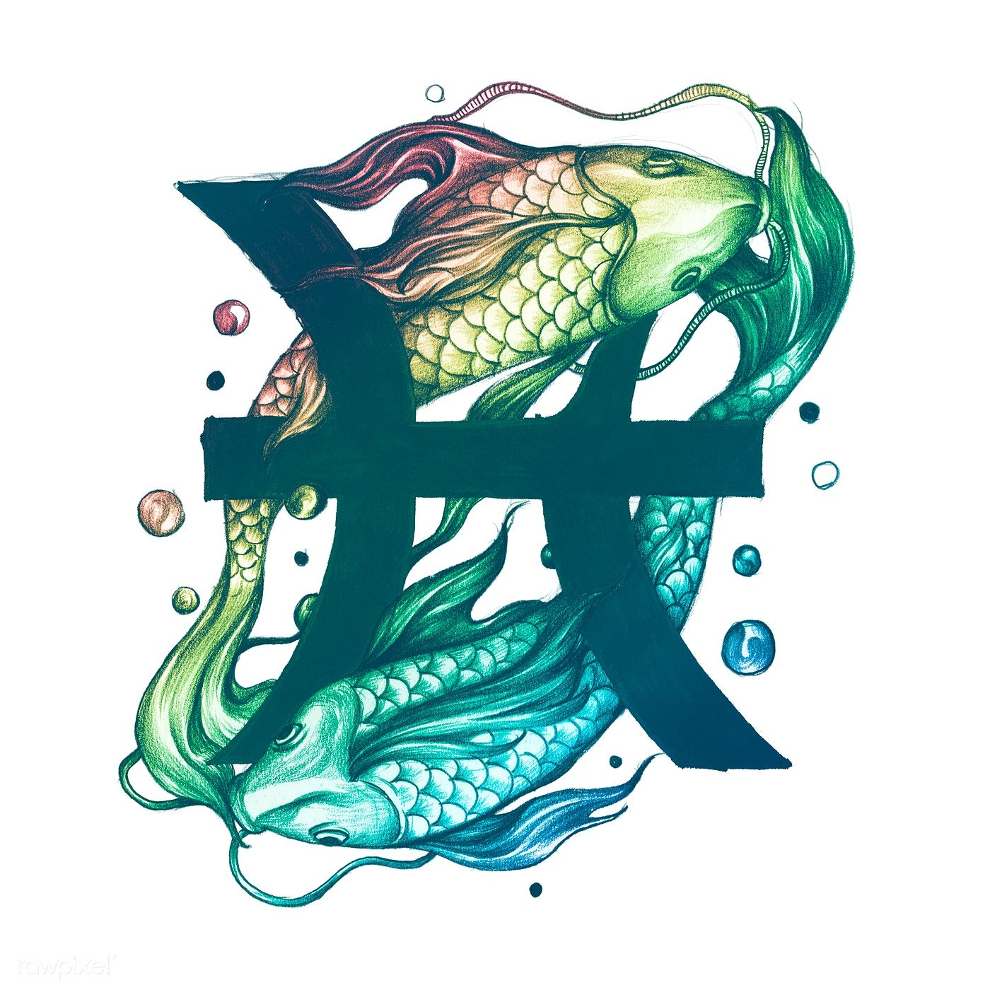 Hand drawn horoscope symbol of Pisces illustration | premium image by rawpixel.com / Donlaya