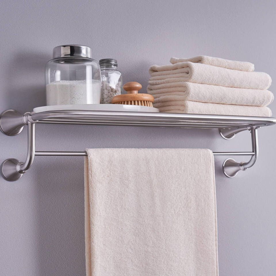 Moen Decorative 1 Tier Spot Resist Brushed Nickel Metal Bathroom Shelf Lowes Com Glass Shelves