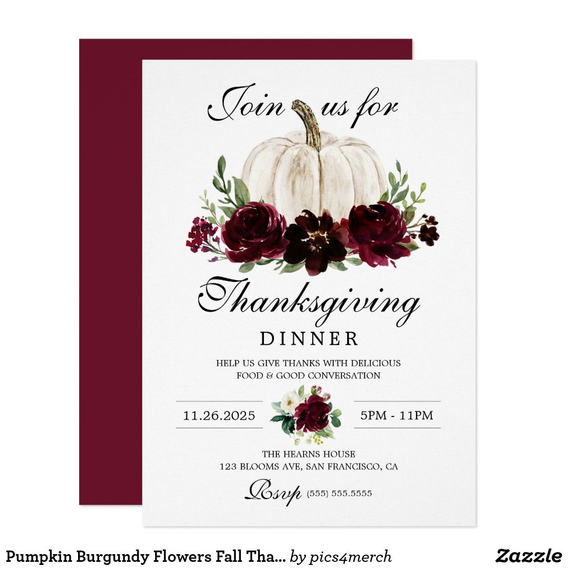 Pumpkin Burgundy Flowers Fall Thanksgiving Dinner Invitation Zazzle Com Friendsgiving Potluck Invitations Potluck Invitation Thanksgiving Dinner Invitation