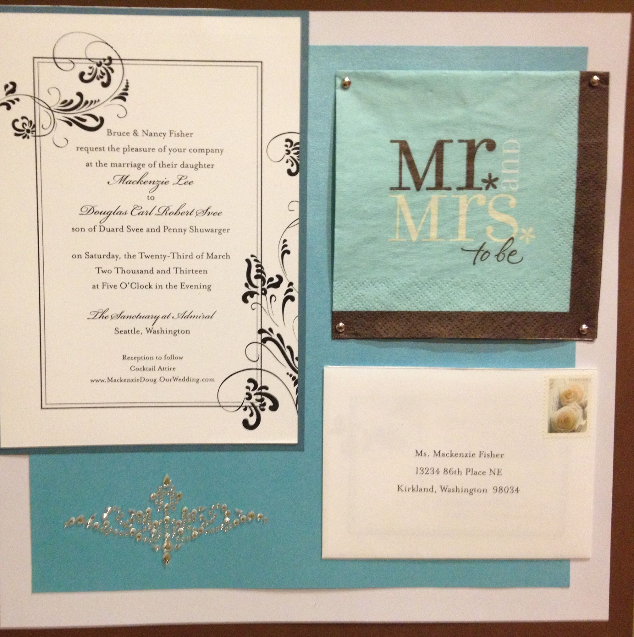 Wedding Scrapbook Page Two With Save The Date Post Card
