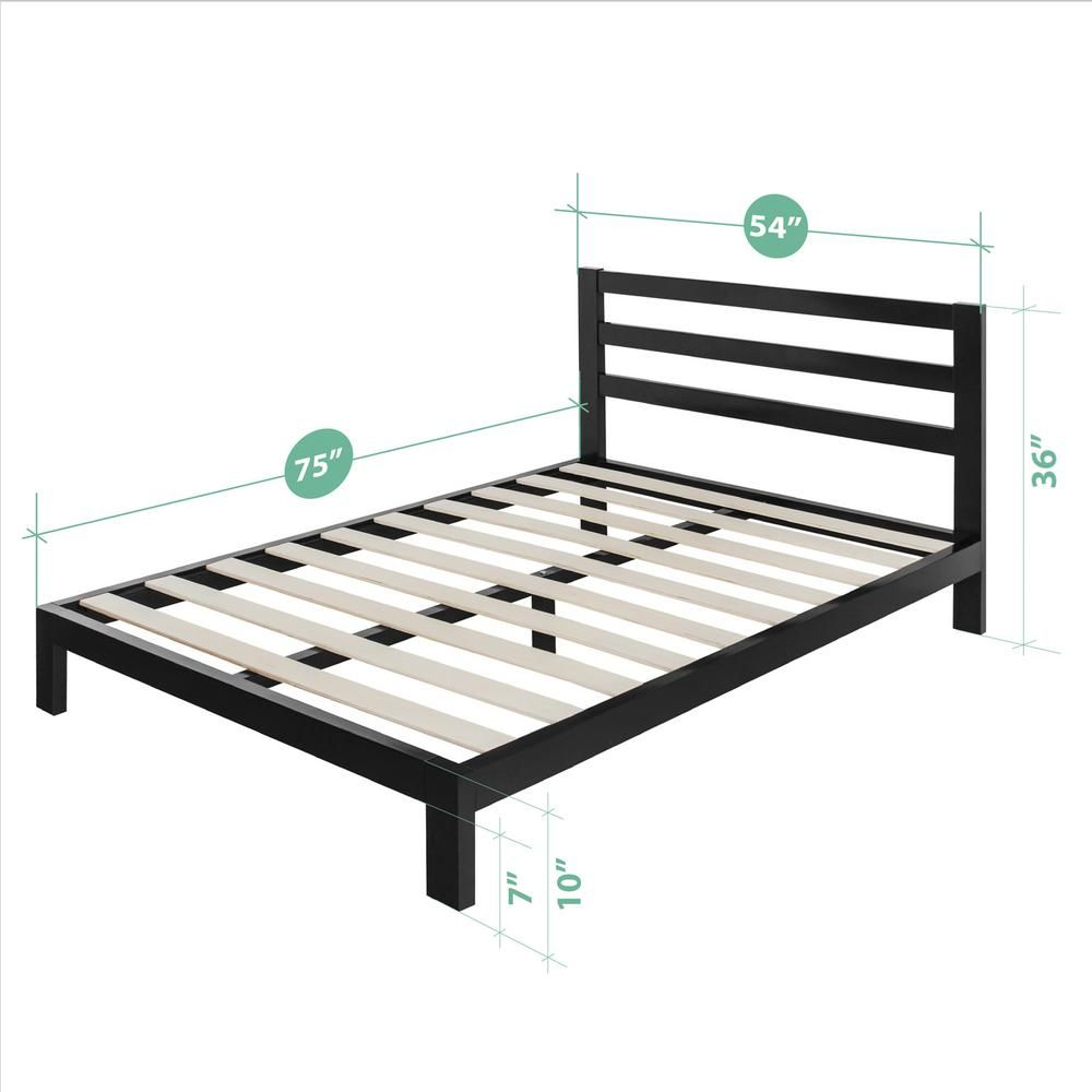 Zinus Arnav Modern Studio 10 Inch Platform 2000h Metal Bed Frame Full Hd Asmph 20f The Home Depot In 2021 Bed Frame Metal Bed Frame Metal Platform Bed