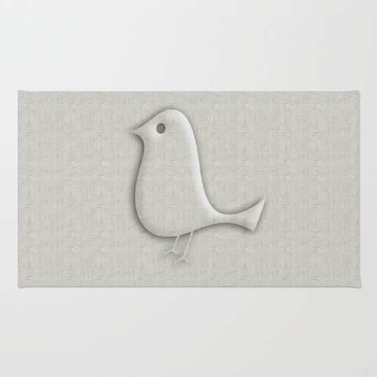 Cool grey glossy bird rug for grey interior lovers. From $28.00. Using 100% woven polyester, these premium quality area rugs boast an exceptionally soft touch and high durability. Available in three versatile sizes (2' x 3', 3' x 5', 4' x 6') they are the perfect accent to any room in your home, featuring thousands of designs from your favorite artists on a subtle chevron pattern. Machine washable; non-skid pad not included.