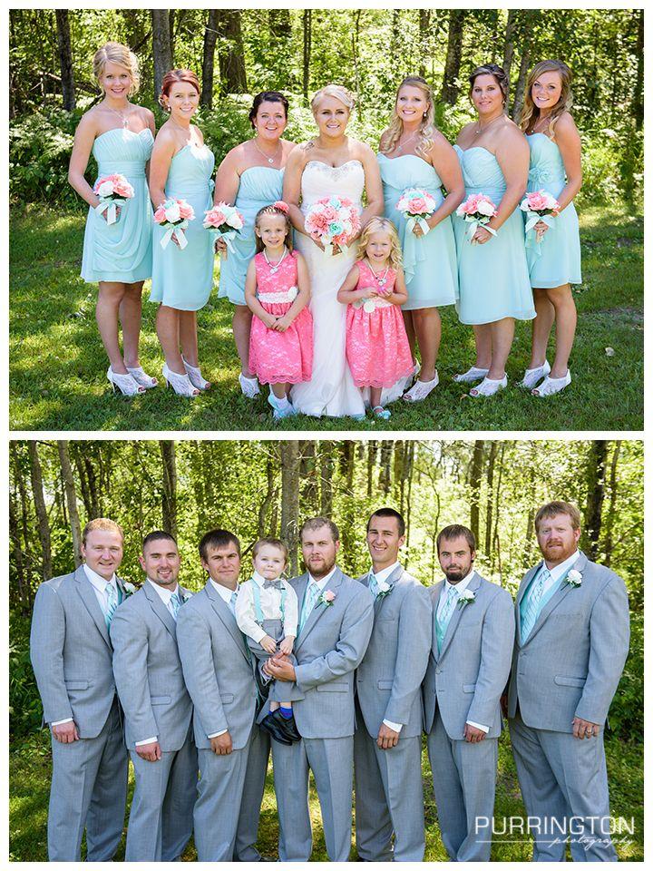 ec4908163bf blue teal aqua coral bridesmaid bridesmaids flower girl flowergirl gray  suits groomsmen bridal party pose poses idea ideas ring bearer suspenders  lace heels ...