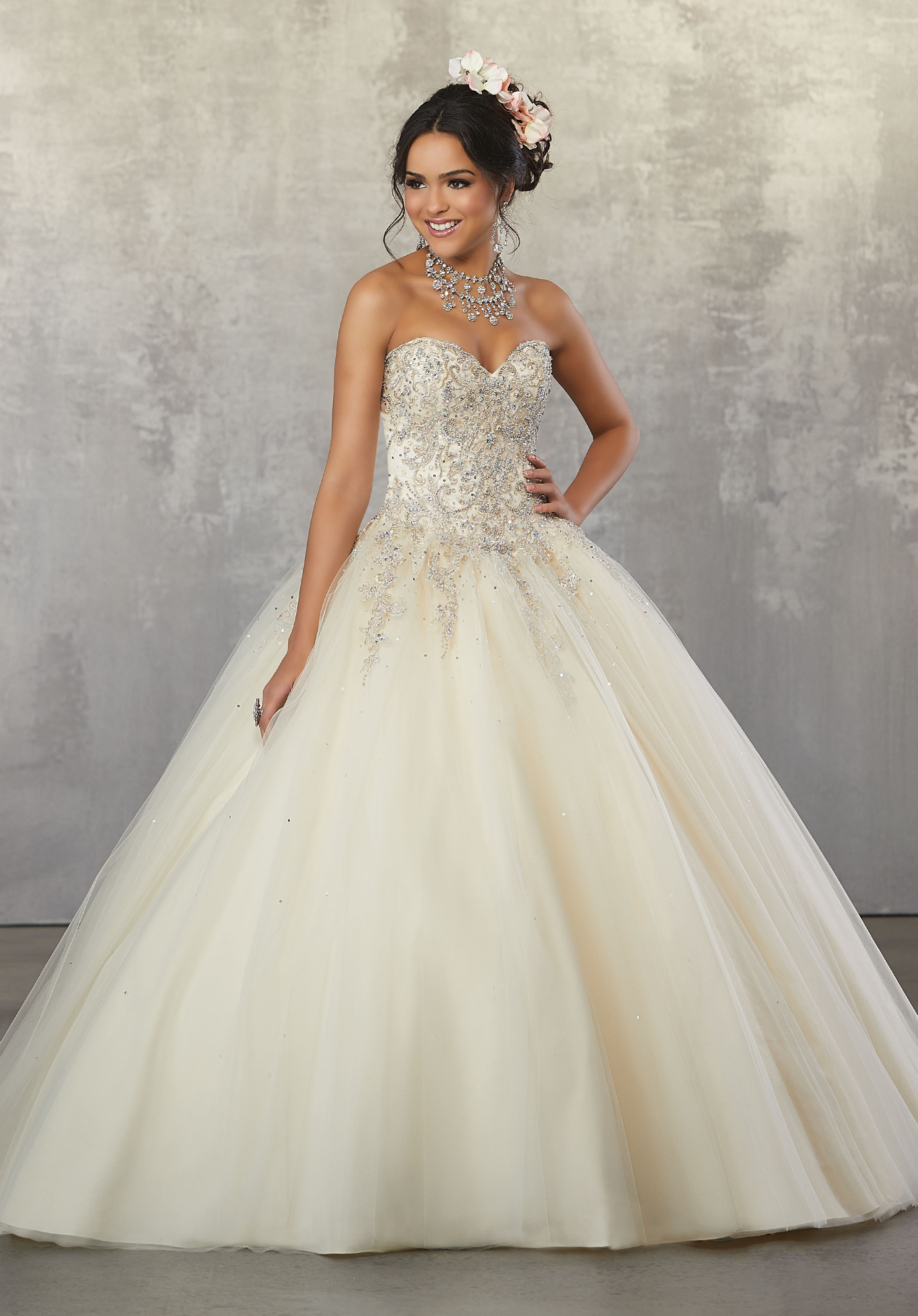 Rhinestone And Crystal Beaded Metallic Embroidery On Tulle Ball Gown Morilee Quinceanera Dresses Quinceanera Dresses Pink Quince Dresses
