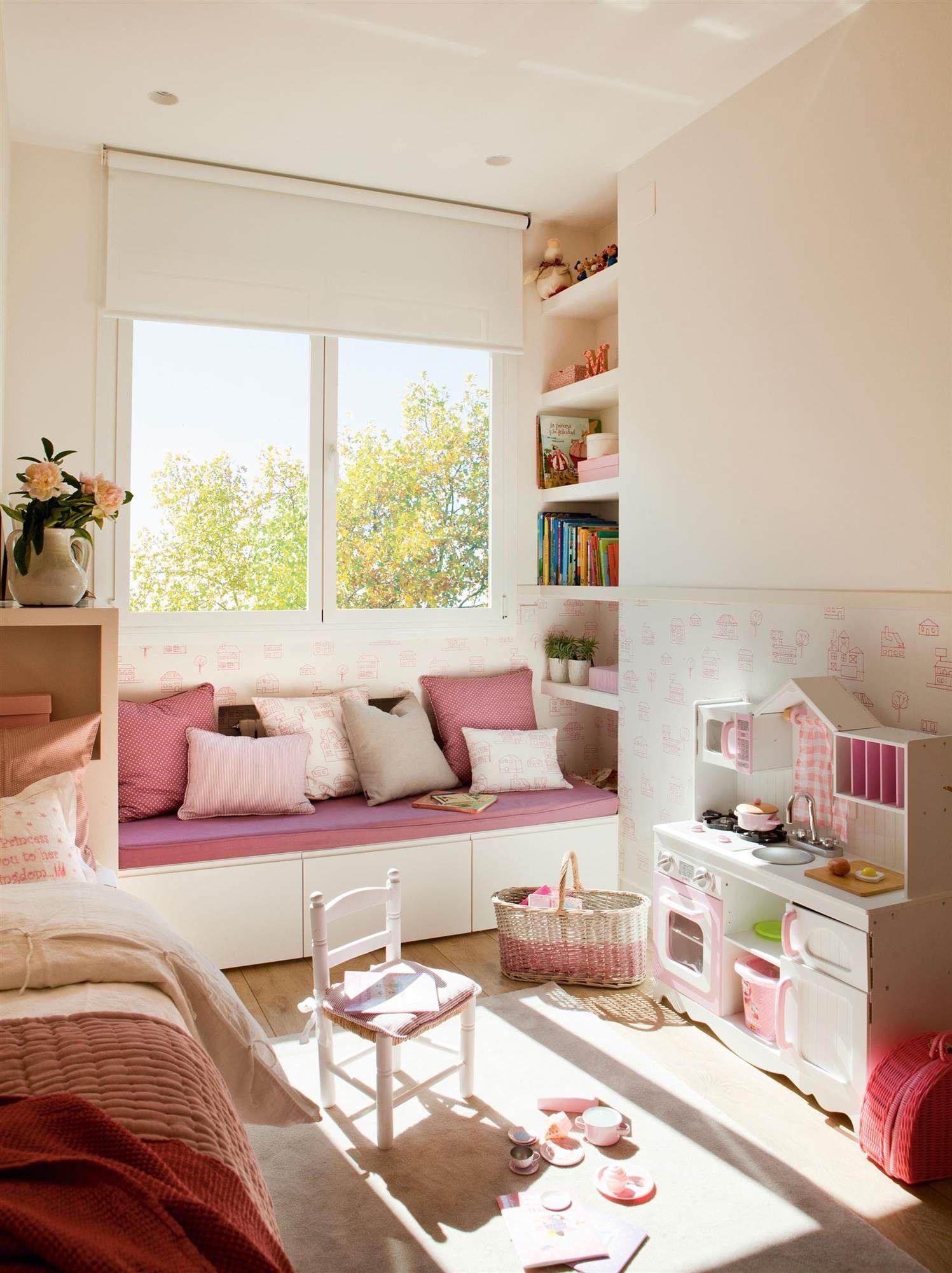 Un banco bajo la ventana en 2019 valeria dormitorio - Decoracion habitacion infantil nina ...
