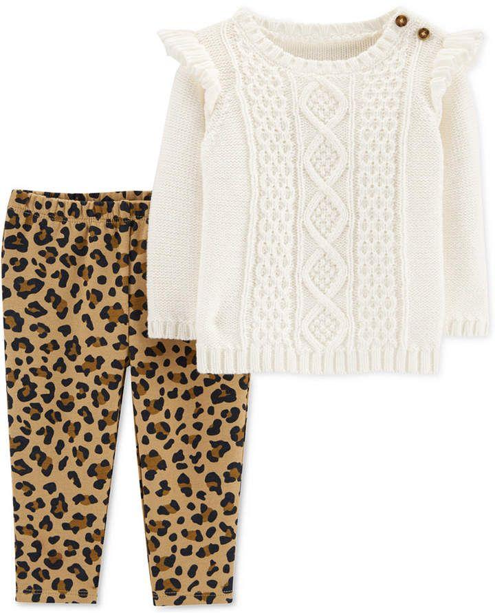 Carter's Baby Girls 2 Pc. Sweater & Fleece Leggings Set