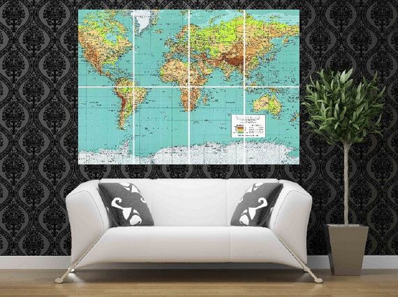 Modern art home office bedroom wall decal decor sticker mural world vintage old map huge giant poster print picture decal photo wall art gumiabroncs Gallery