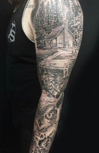 arm tattoo forest owl amazing sleeve tattoos arm