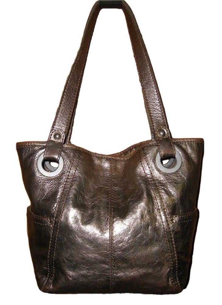 Fossil Genuine Metallic Gold Leather Hathaway Large Per Bucket Handbag Ebay