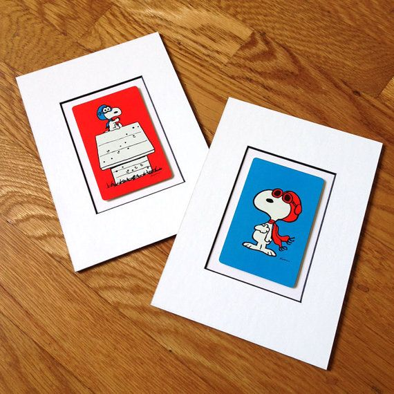 Snoopy Red Baron Custom Matted Vintage Card Or Set By Popmat