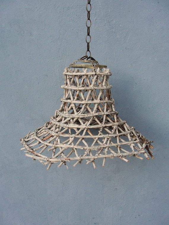 Basket Pendant Light Beach Finds Fish Net Rustic Ceiling Home Decor Swag Hanging
