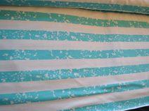 Strechjersey Spotstripes türkis-weiß