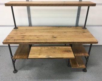 Rustique de récupération grange bois ordinateur bureau table w