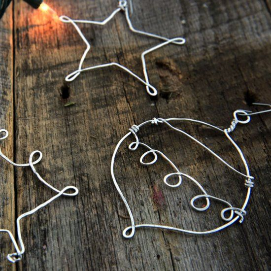 Hammered metal ornaments add a homemade touch to christmas