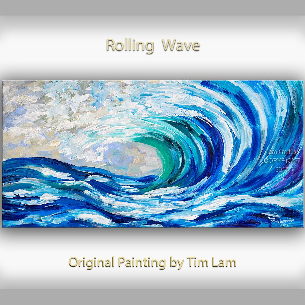 sea art wave painting original abstract oil painting blue sea