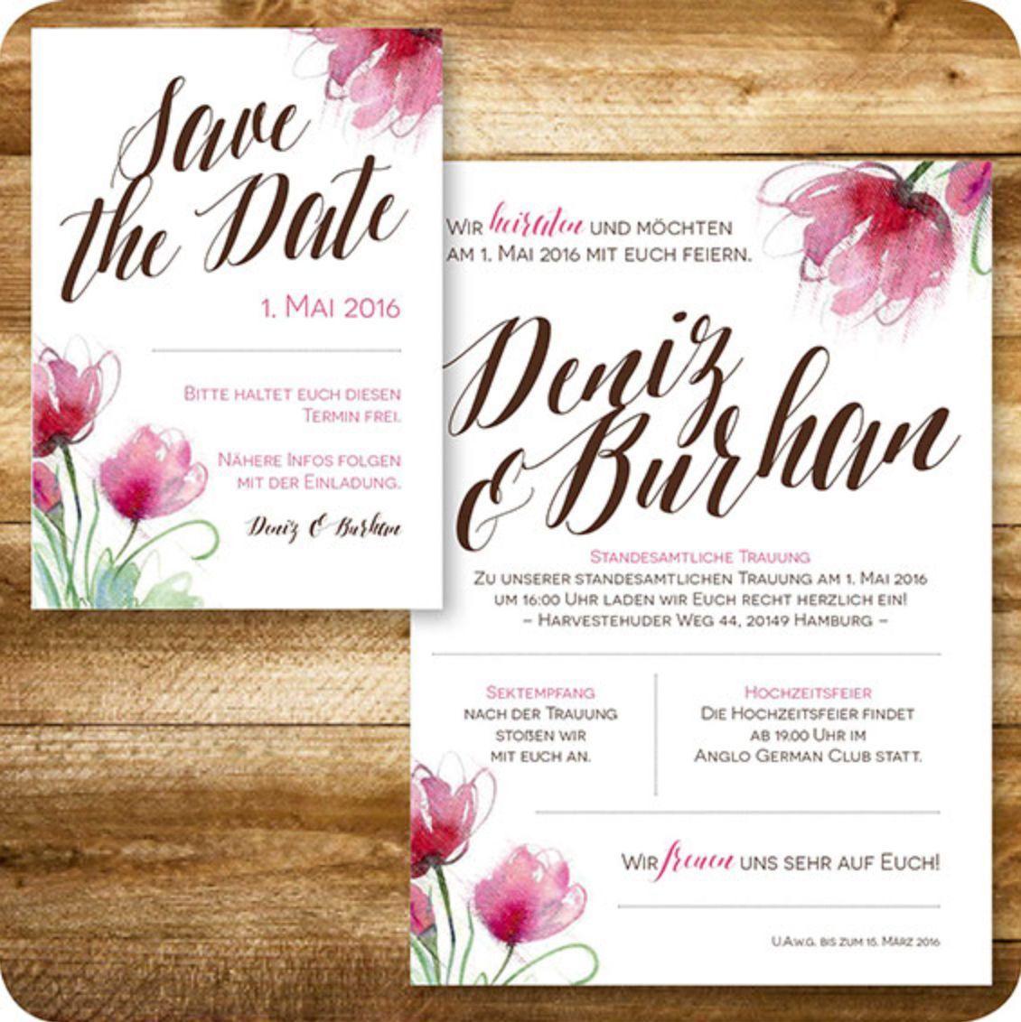 Save The Date Karte, Einladungskarte Für Vintage Hochzeit, Floral,  Individuell Designed By Die