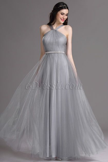 Grey Color Halter Neck Simple Bridesmaid Dresses Evening Dress