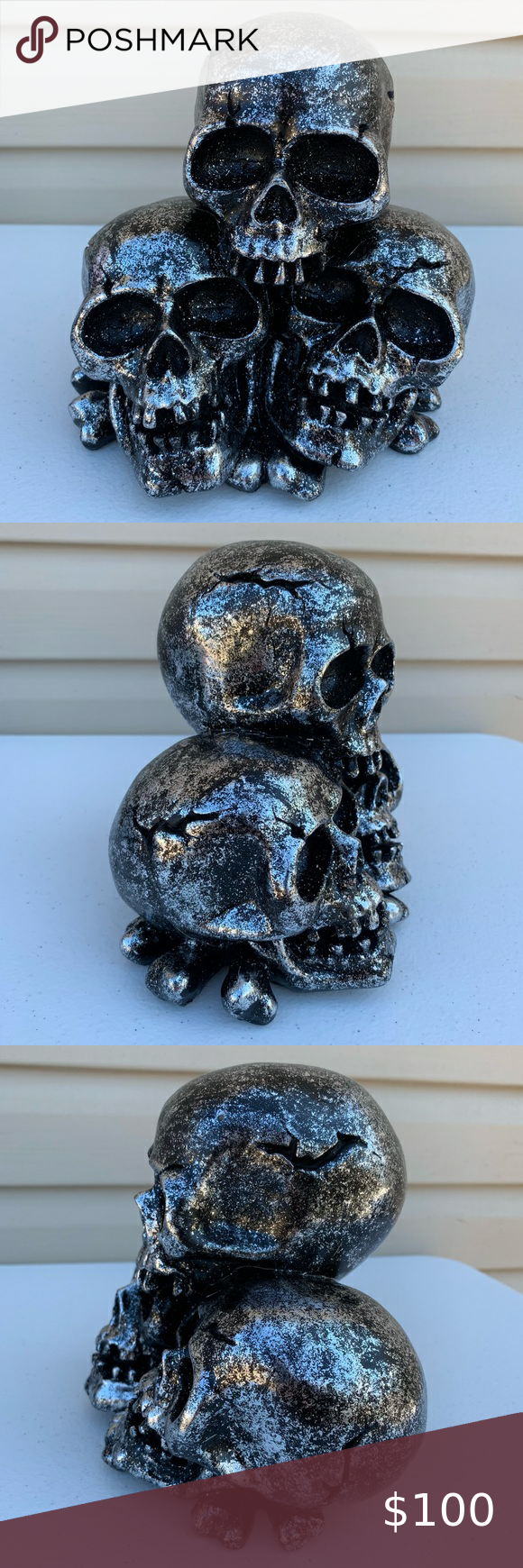 GOTH WITCHY HALLOWEEN SKULL STATUE FIGURINE DECOR! ✅ Listed price is just a placeholder. REASONABLE OFFERS ACCEPTED! ✅  •Badass INTENTIONALLY DISTRESSED Shiny Metallic Skull Pile Small Statue Figure Figurine Display Piece Home Decor Decoration Decorative Accent. •Brand new. Never used. Has some sticker residue. •Roughly 6.5
