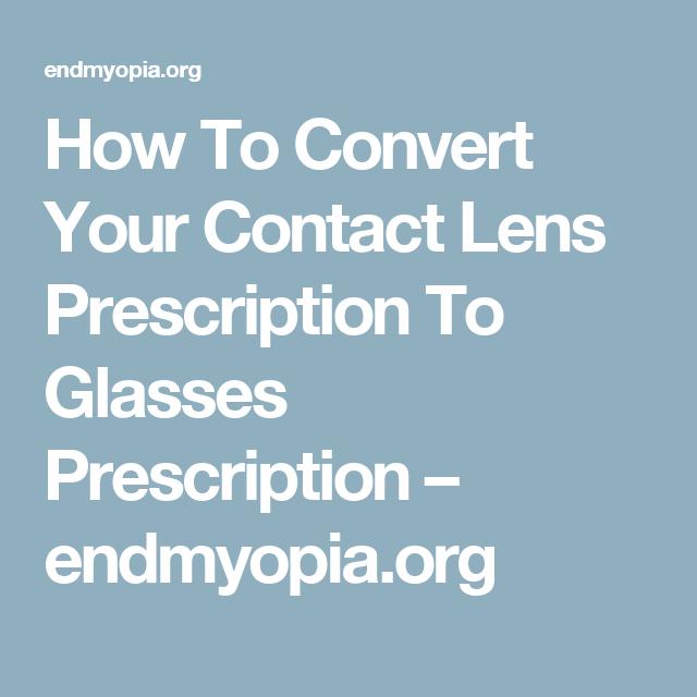How To Get Contact Lens Prescription From Glasses Prescription