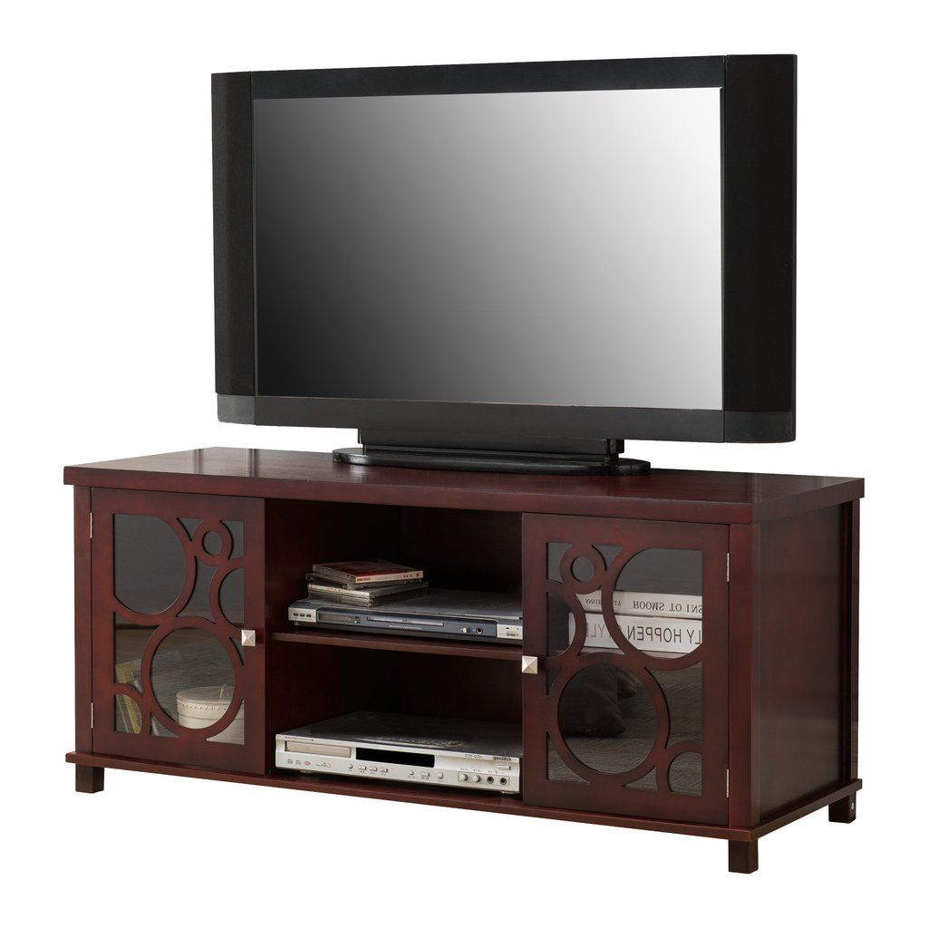 48 Cherry Wood Tv Stand Entertainment Center Storage Console With Gl Doors