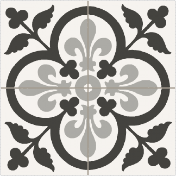 Carrelage ciment coeur de lys noir et blanc patterns for Carrelage noir et blanc