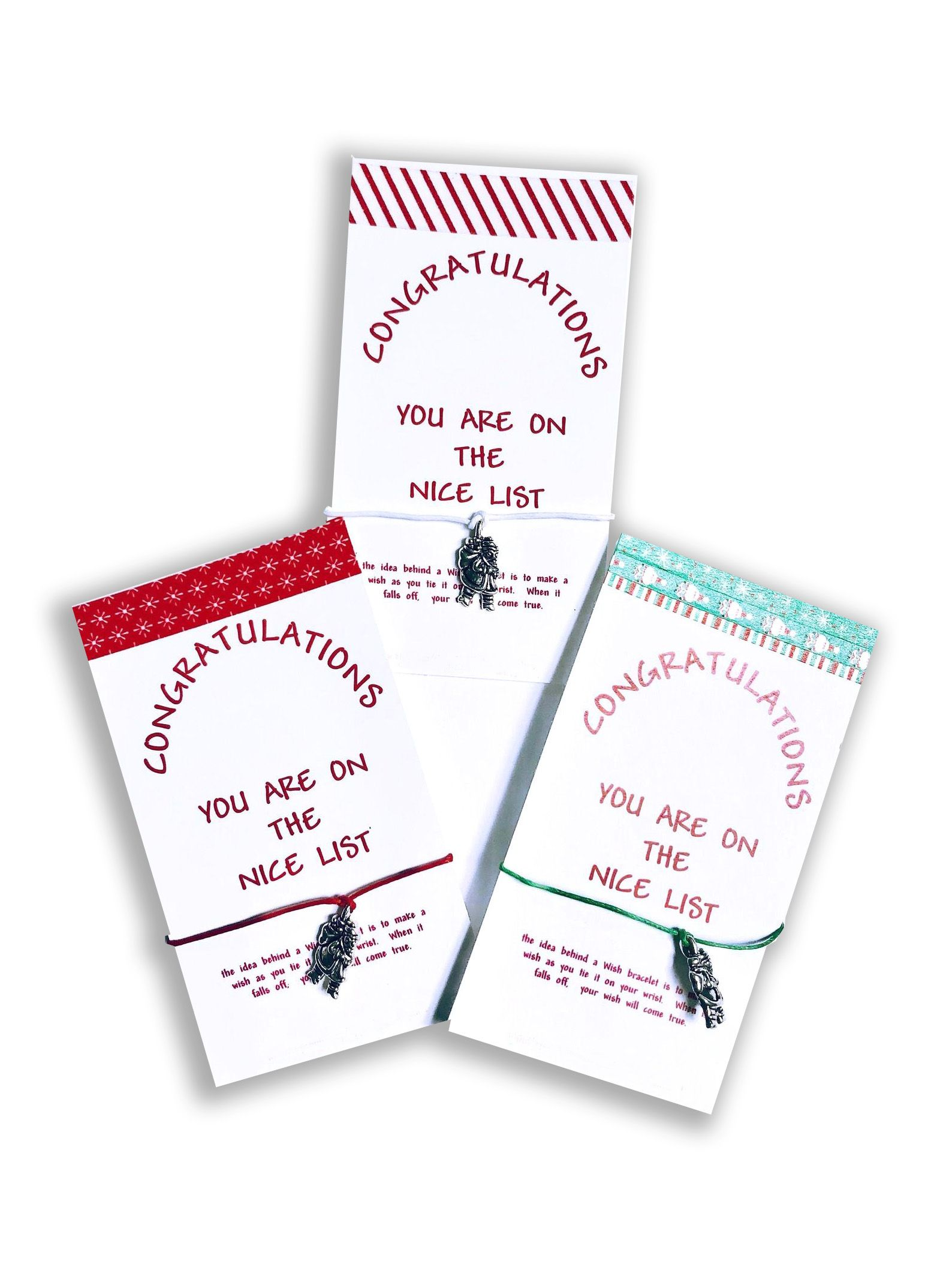 Congratulations you are on the Nice List Wish Bracelets