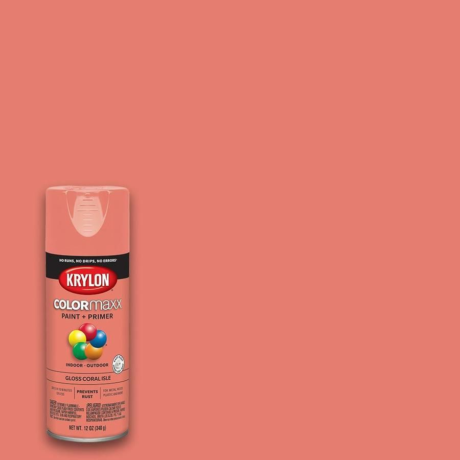 Krylon Colormaxx Gloss Coral Isle Spray Paint And Primer In One Actual Net Contents 12 Oz Lowes Com Krylon Coral Spray Paint Spray Paint Colors