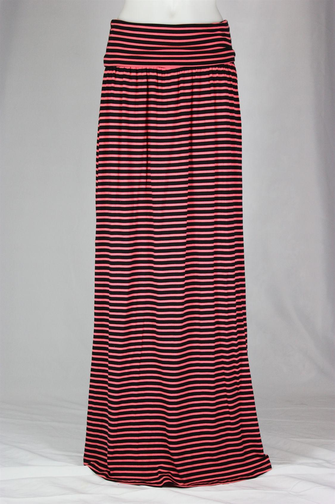 Black coral stripe long maxi skirt theskirtoutlet countenance
