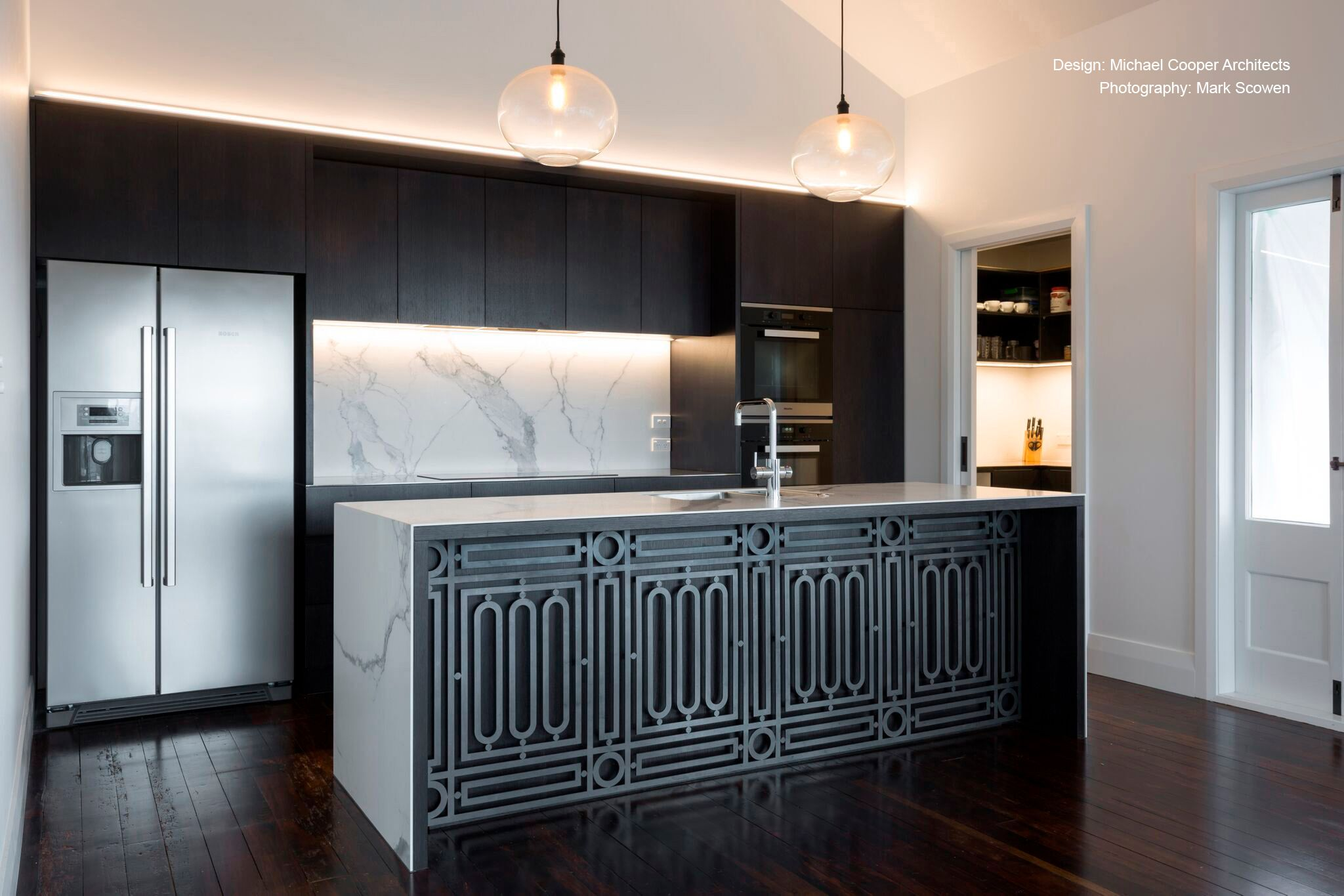 This monochromatic kitchen island quickly the