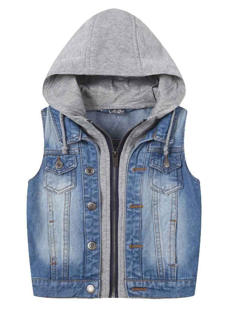 2c1fd31ee76e Mallimoda Baby Boys Girls Sleeveless Hoodie Denim Top Vest Jacket ...