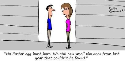 If you're planning an Easter egg hunt, maybe don't use real eggs. #FunnyFridays #cartoon #selfstorage