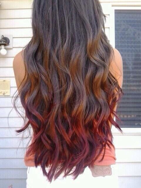 Red Ombre For Brown Hair Colored Hair Tips Dip Dye Hair Hair