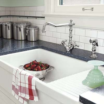 A Handsome Kitchen That Handles Hard Knocks Kitchen Sink Remodel Drainboard Sink Farmhouse Sink