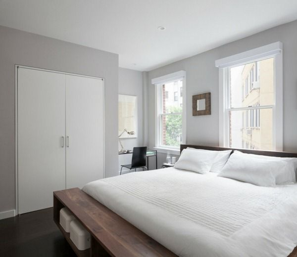 Light gray painted walls (Bedroom-Light-gray-attractive-double-bed