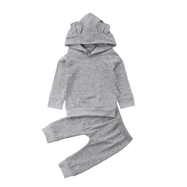 a78a75090092b Newborn Kids Baby Boys Girls Ear Hooded Tops Pants Outfits Set ...