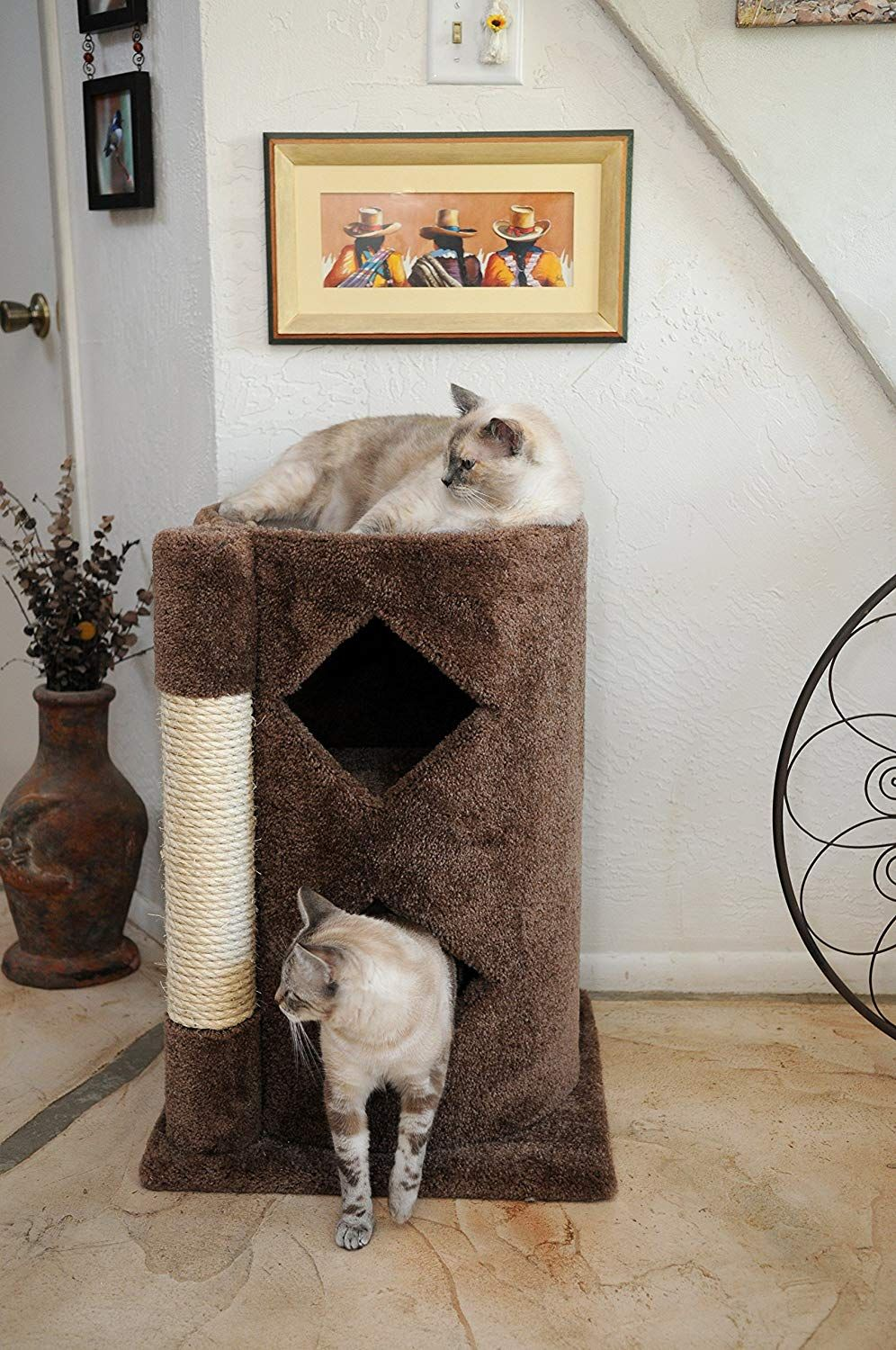 Carpet cat condo 2 story modern kitty condo with scratching post beige carpet you can find more details by visiting the image link