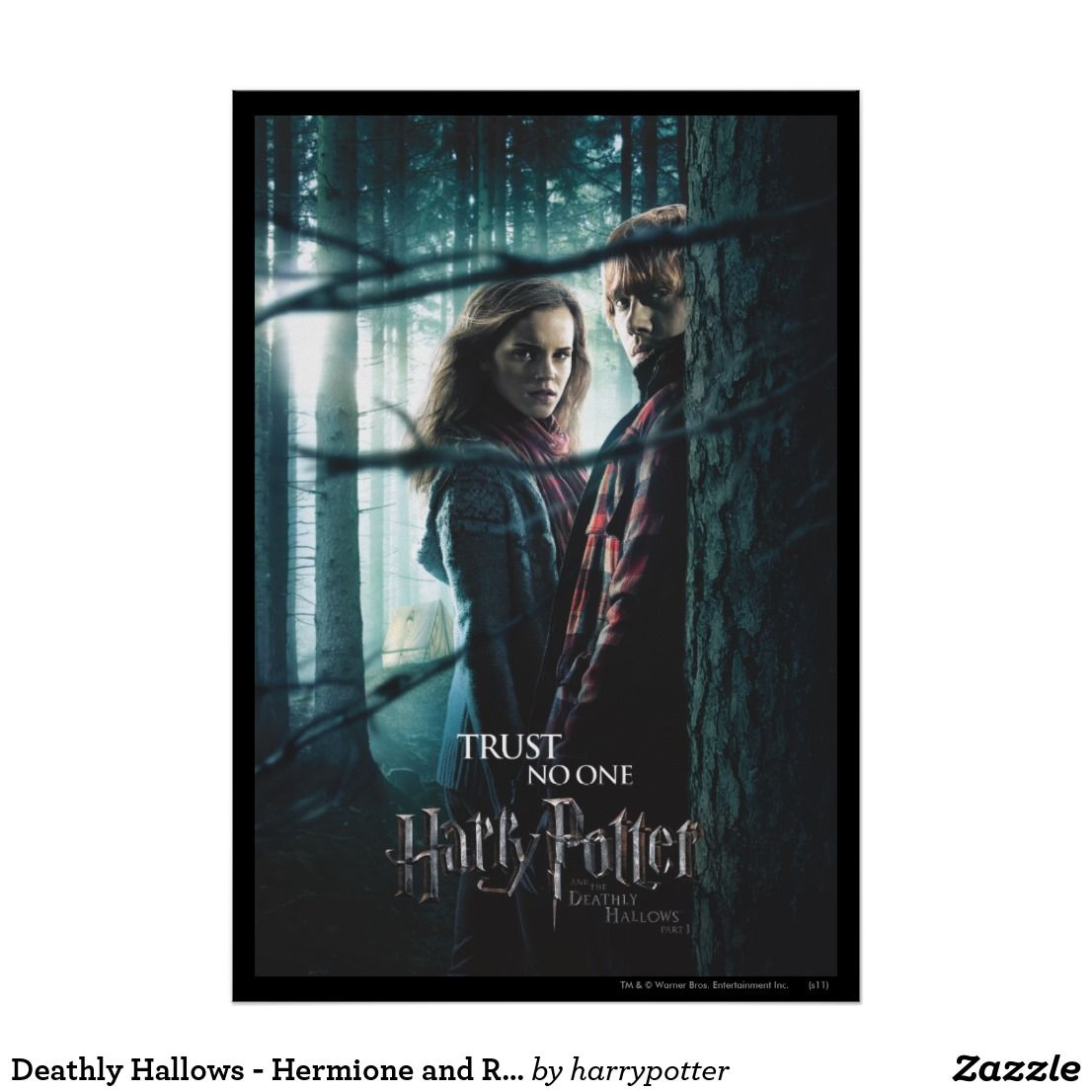 Deathly Hallows Hermione And Ron Poster Zazzle Com Harry Potter Movie Posters Deathly Hallows Harry Potter Invitations