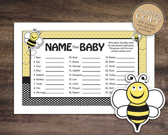 Instant Download Bee Baby Shower Games Name That Game Printable Animal
