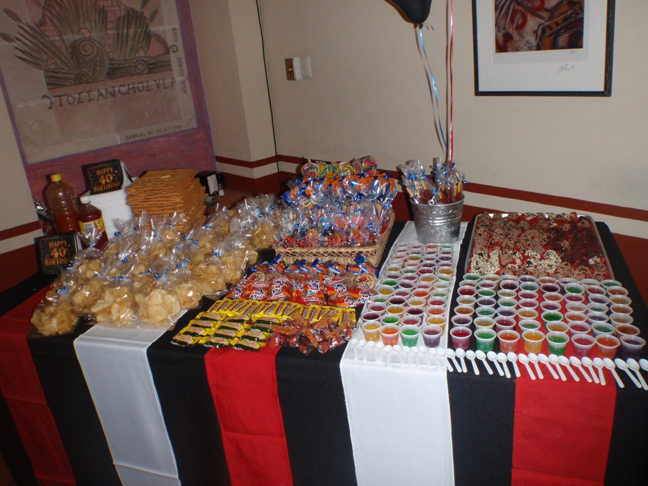 Fiesta tem tica las vegas adultos mesa de dulces - Decoracion de mesas cumpleanos adultos ...