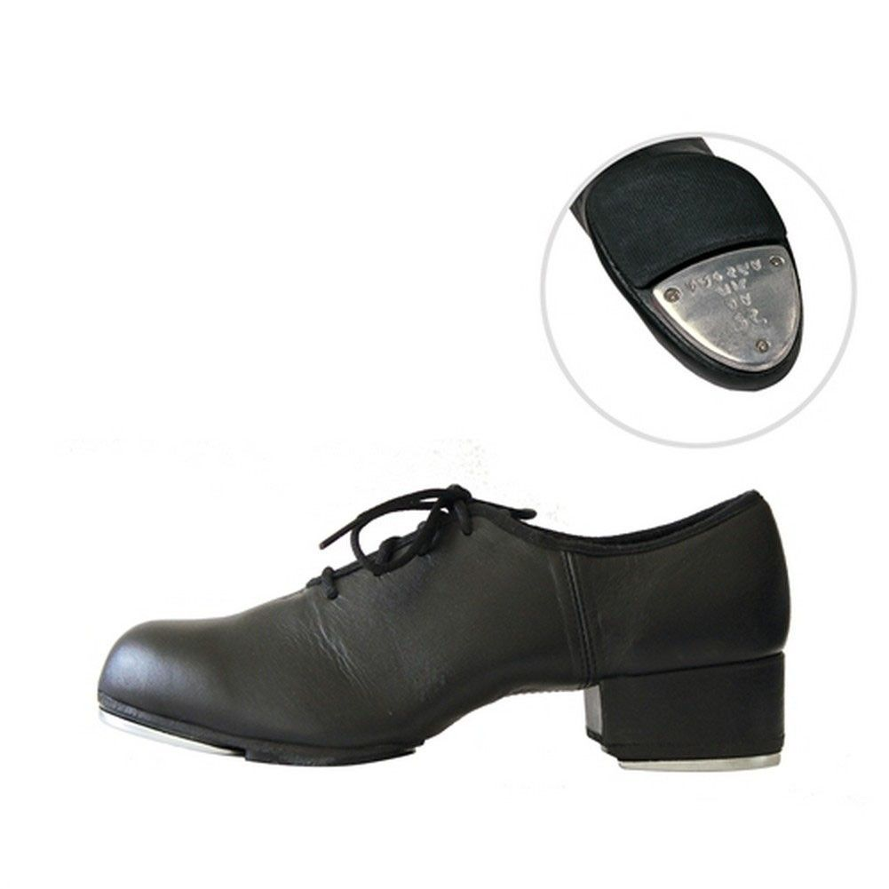 """Designer quality """"T-World"""" dance shoes by Sansha perfect to accessorize special outfits. Whether for rehersal or recital, no dance wardrobe would be complete without them. Black leather lace-up full sole tap shoe features Oxford design and comes with a 1"""