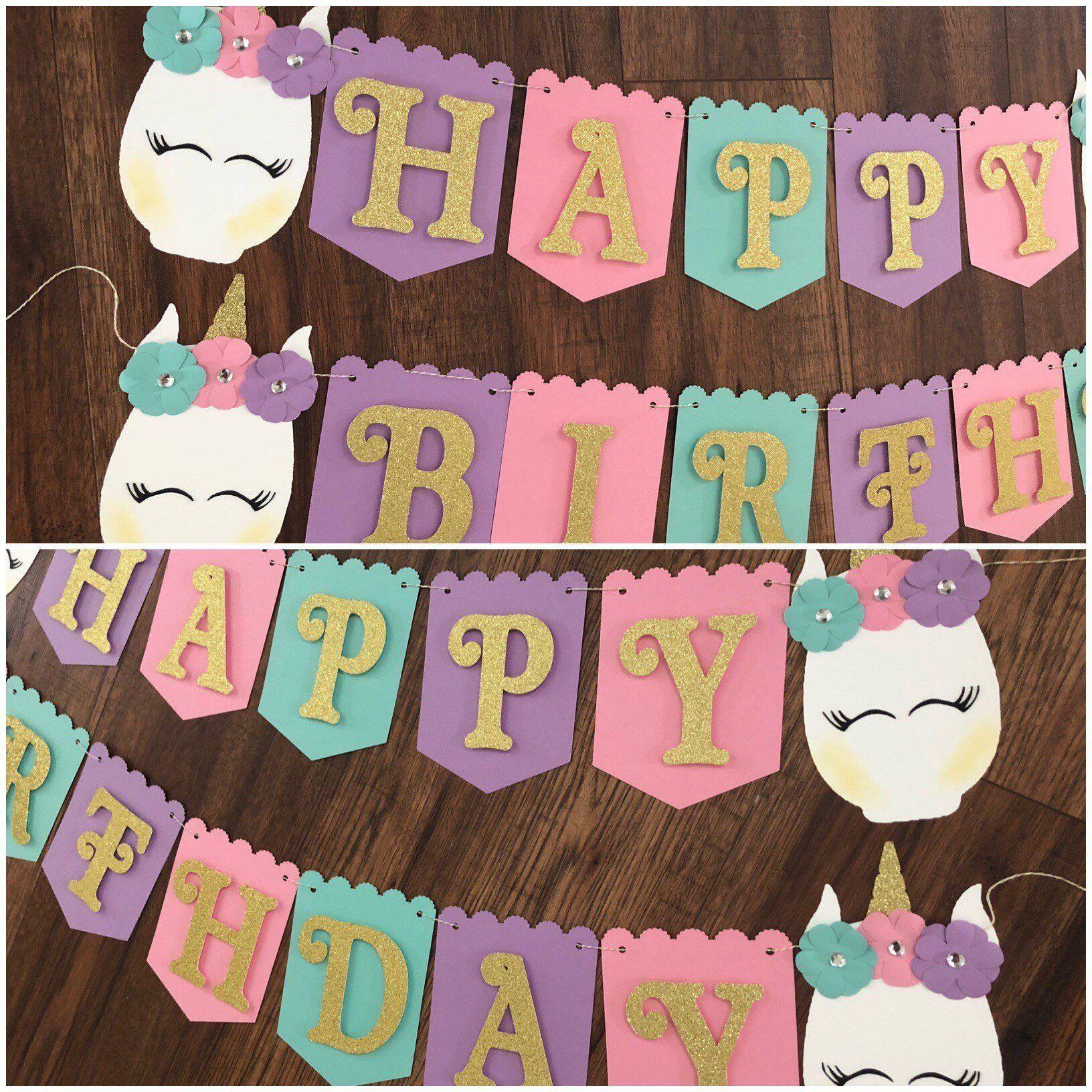 Birthday banner unicorn love party gift unicorn